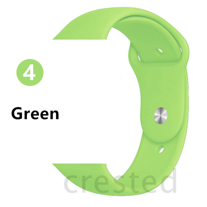 Силиконовый ремешок для apple watch 4 5 44 мм/40 мм спортивный ремешки для apple watch 3 42 мм/38 мм резиновый ремень браслет ремешок для часов apple watch Band Мягкий красочный ремешок iwatch series 4 3 2 1 - Цвет ремешка: Green
