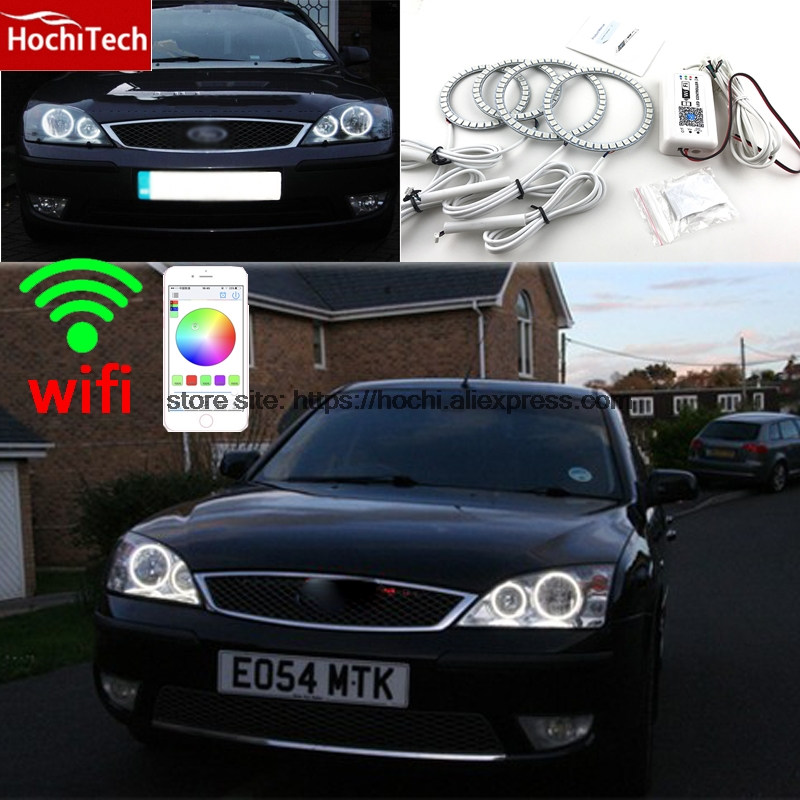 HochiTech Excellent RGB Multi-Color halo rings kit car styling For FORD Mondeo MK3 2001-2007 angel eyes wifi remote control hochitech excellent rgb multi color halo rings kit car styling for volkswagen vw golf 5 mk5 03 09 angel eyes wifi remote control