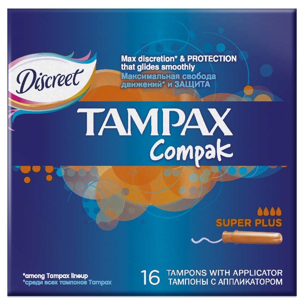 TAMPAX Compak Female sanitary napkins with applicator Super Plus Duo 16pcs тампоны o b compact applicator super 16 шт 83569