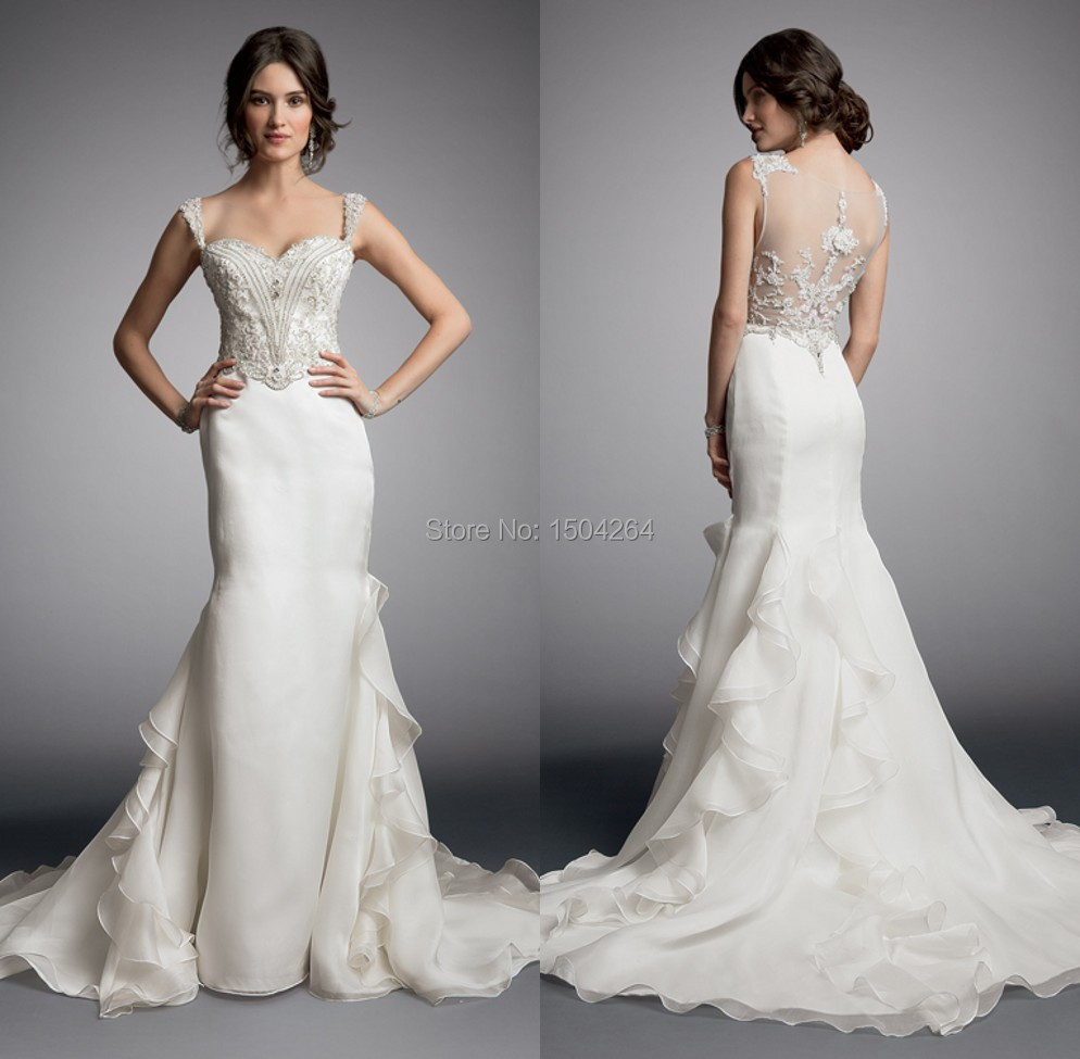 mermaid ivory lace beads sheer back long wedding dress pwedsku sheer back wedding dress Mermaid Ivory Lace Beads Sheer Back Long Wedding Dress