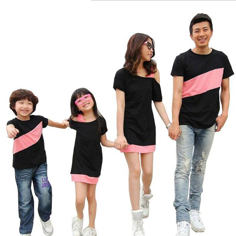 Family Matching Outfits T-shirt Mother Kids Family Look Special Shoulder For Mother Daughter Dresses Father Son Family Clothes