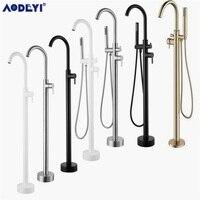 Bathroom Bath Spout Shower Floor Mount Shower set Mixer Valve 1 & 2 Function Bathtub Filler Mixer Taps Gold/Black/Chrome