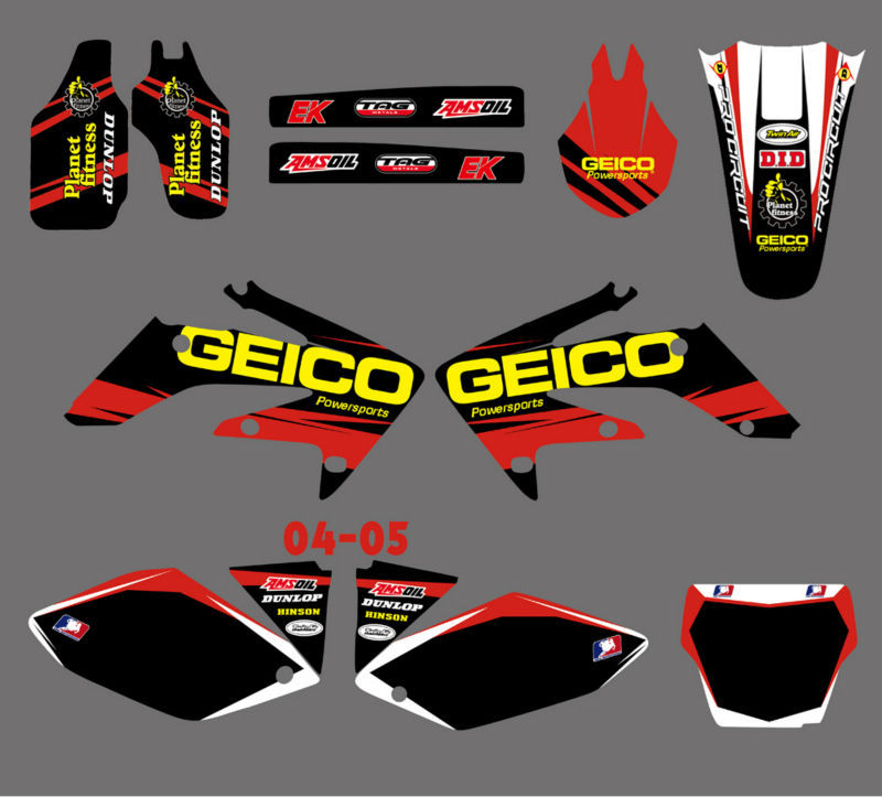 H2CNC TEAM Graphics & Background Decal Sticker Kits For Honda CRF250 CRF250R 2004 2005 CRF 250 250R 04 05