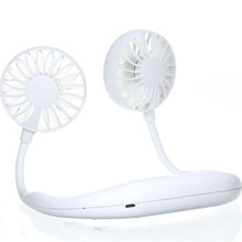 Small Portable Neck Band Fan White Black Mini Air Fan With Dual Fan USB Rechargeable Air Cooler Mini USB Fans