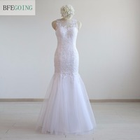 White Tulle Lace Mermaid Trumpet Formal Evening Floor Length Sleeveless Real Photos Custom Made