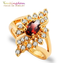 Yunkingdom Unique Design Wedding Rings for women AAA CZ diamond jewelry 18k gold filled Anniversary ring 5 colors elegant purple black gold filled cz ring gold colors flowers rings unique vintage party wedding for women christmas jewelry
