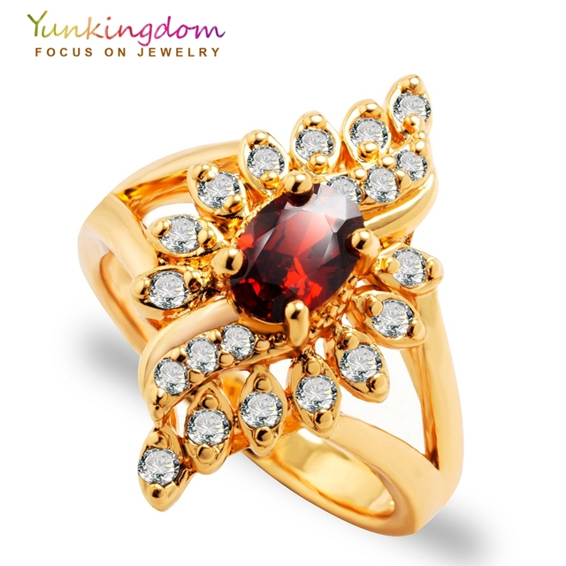Yunkingdom Unique Design Anniversary Wedding Rings for women Blue Crystal Fashio