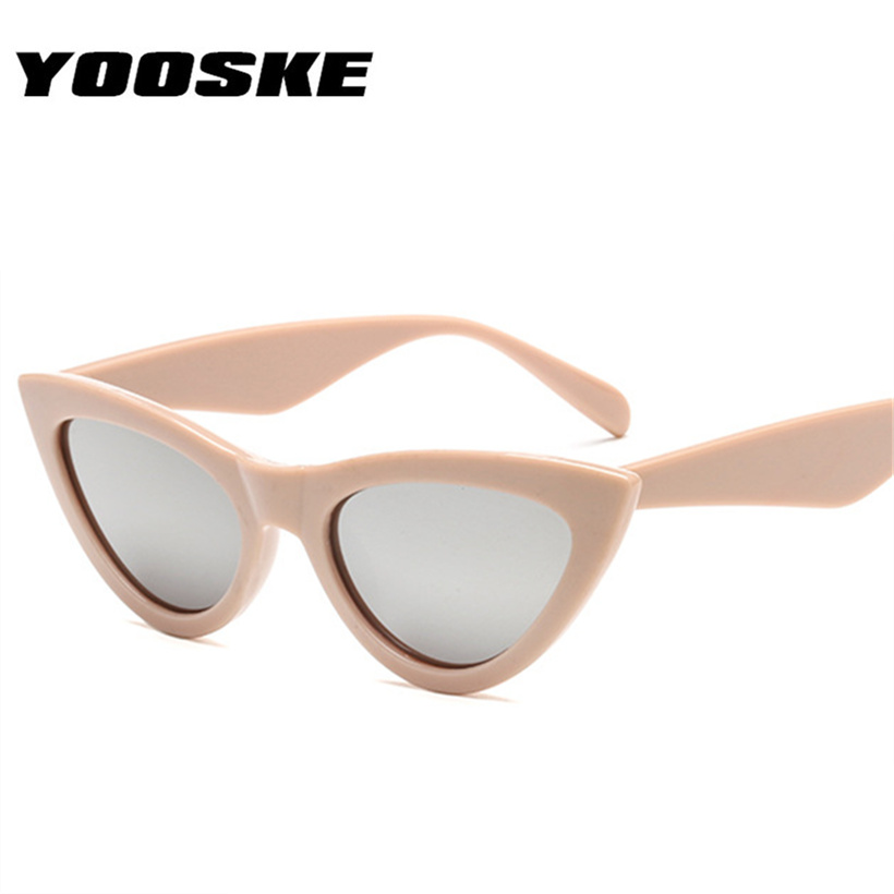 YOOSKE 2019 <font><b>Cute</b></font> <font><b>Sexy</b></font> <font><b>Retro</b></font> <font><b>Cat</b></font> <font><b>Eye</b></font> <font><b>Sunglasses</b></font> Women Black White Triangle Vintage Sun Glasses for Male Female UV400 image