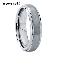 6mm Tungsten Carbide Ring for Men Women Matte Surface Engagement Wedding Band Rings With Beveled Edges