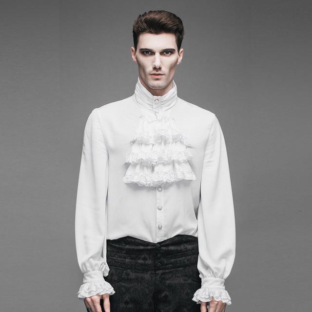Moda Gothic Aristocrat Victorian Regencia Mens Capas Jabot Camisa Tops Steampunk Puños de Encaje de Cuello Plisado Suave Blusas Masculinas