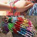Wholesale Mixed Colors Wholesale 100 string Bracelets Bangle MULTI COLORED Bracelet String Manual,Summer Woven Bracelets
