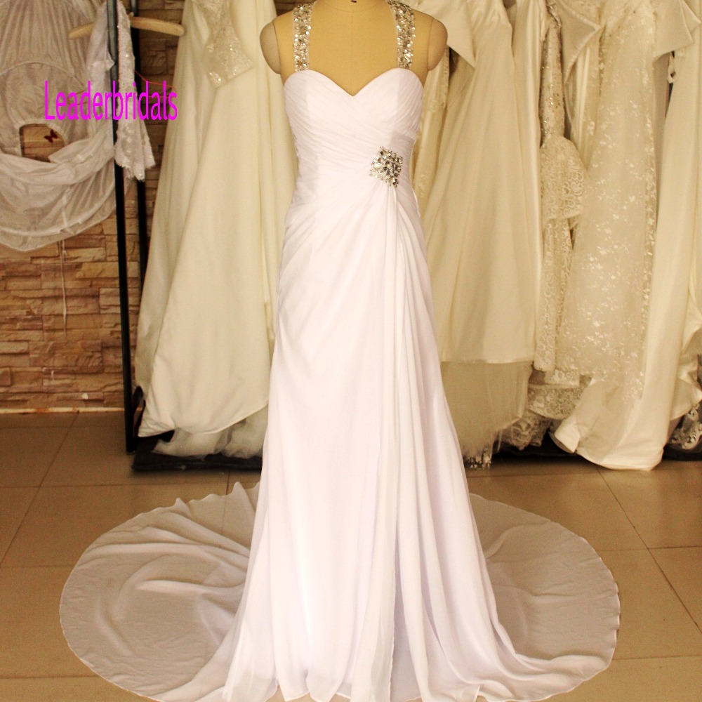 Beach Wedding Dresses Halter Chiffon Beaded Crystal Pleats Veatido De Novia Front Split Court Train Bridal Gown ZX1455