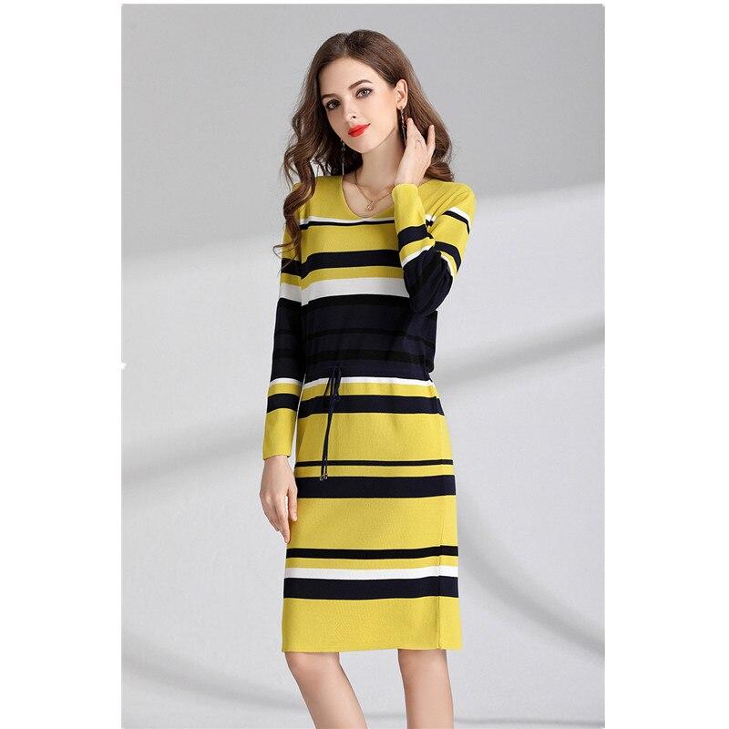 6569bf65f 2018 nova moda das mulheres Europeias e Americanas vestido de malha listra  gola redonda manga longa tamanhos maiores vestido STPRRES em Vestidos de  Roupas ...