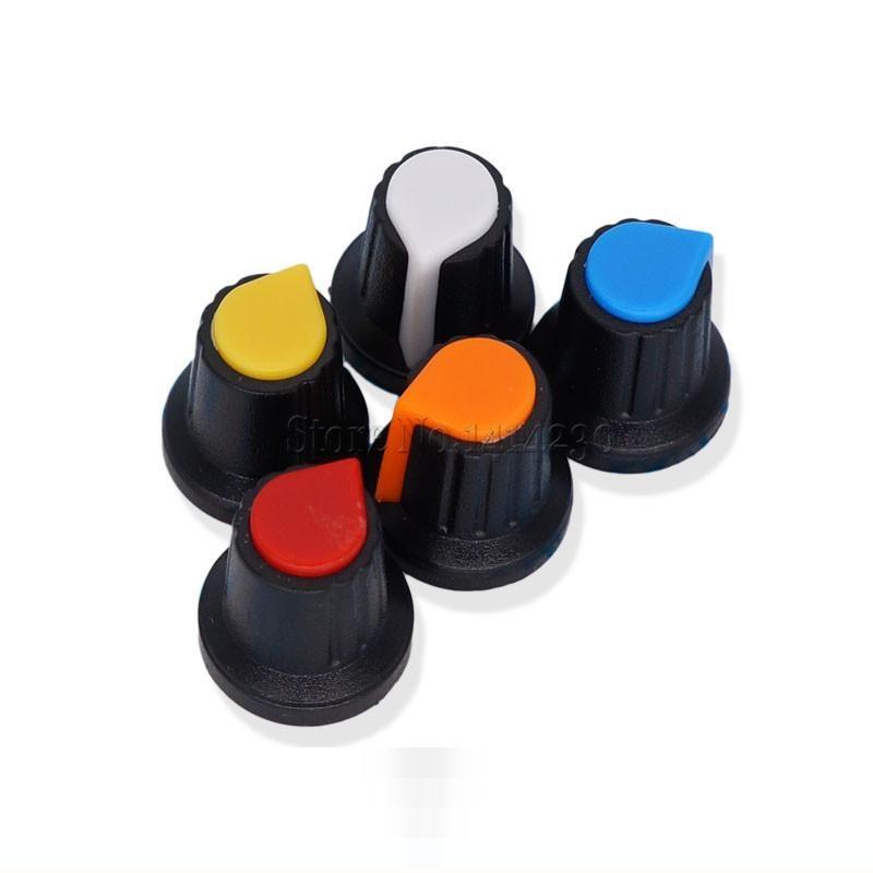 10Pcs WH148 Potentiometer Switch Knob Cap Plastic Knob Plum Handle 15X17mm AG2 Handle 6MM BLACK RED YELLOW ORANGE WHITE