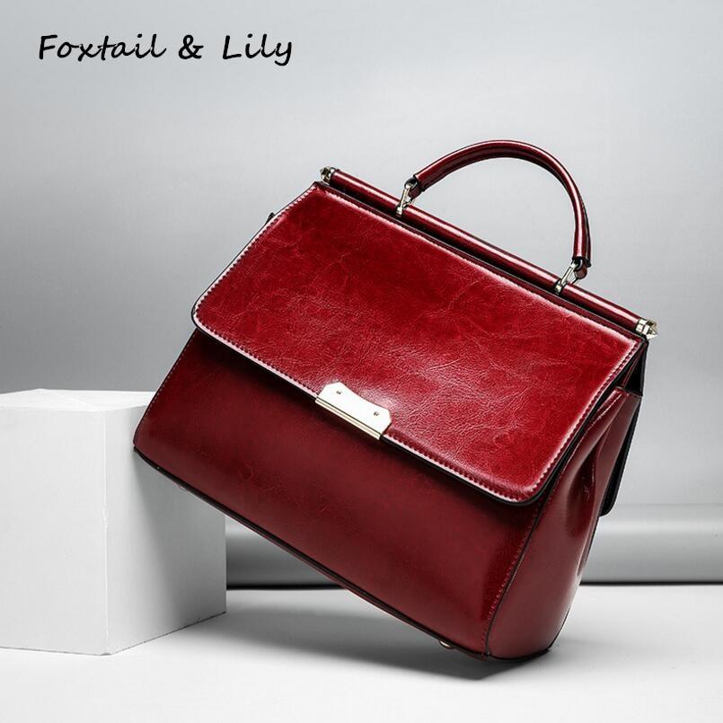 FoxTail Lily Oil Wax Leather Handbag Famous Designer Women Messenger Bag Genuine Leather Shoulder Crossbody Bags