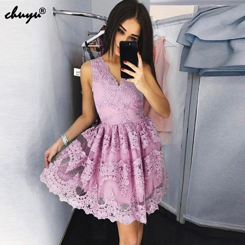 Кружевное короткое платье с v образным вырезом для выпускного вечера, вечернее платье без рукавов, платье для выпускного вечера, 2019