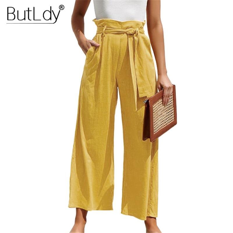 Summer Wide Leg   Pants   Women 2019 Spring Bottoms Long Casual   Pants   Drawstring Trousers Female Cotton Loose Beach   Pants   &   Capris
