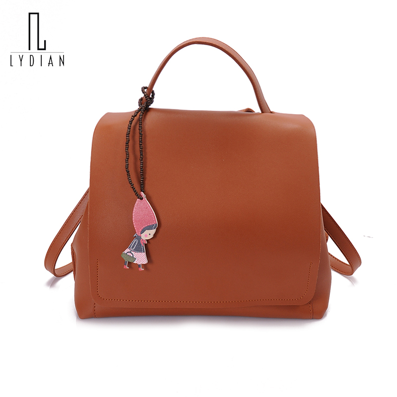 lydian Small pu Leather Backpack School Backpacks Rivet Travel Drawstring Bag Leisure Book Bag European Fashion Women Back Bags