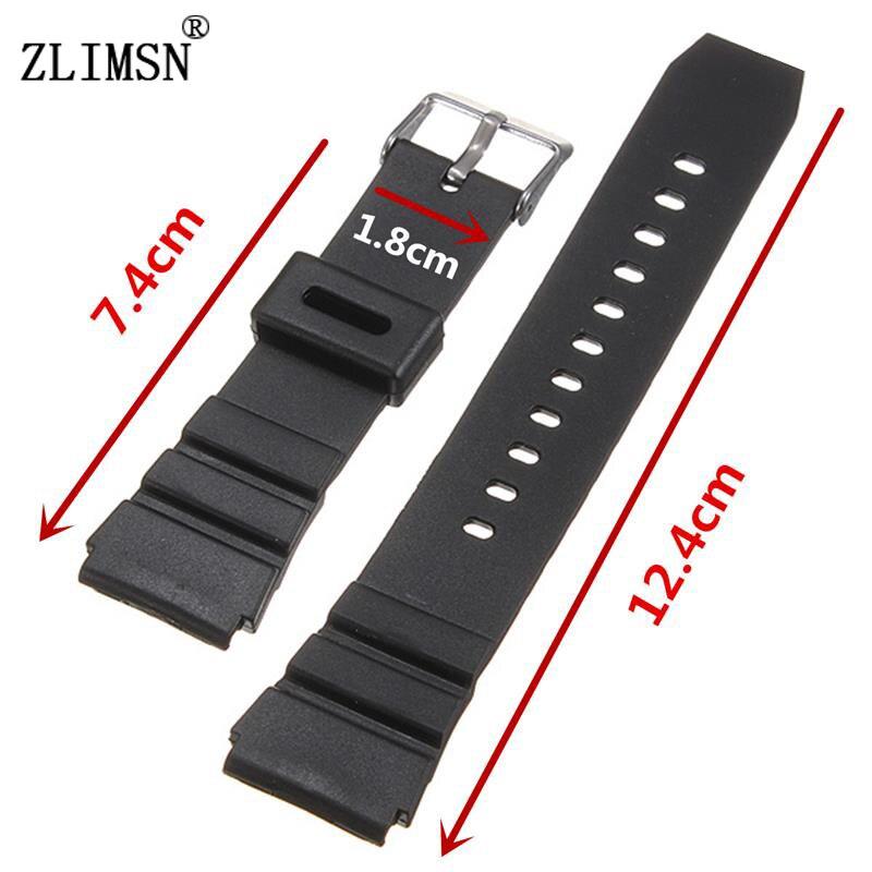 ZLIMSN Schwarz Uhrenarmbänder Weiche Silikon Kautschukband Uhr Military Schweißband 18mm 20mm 22mm Edelstahl Schnalle