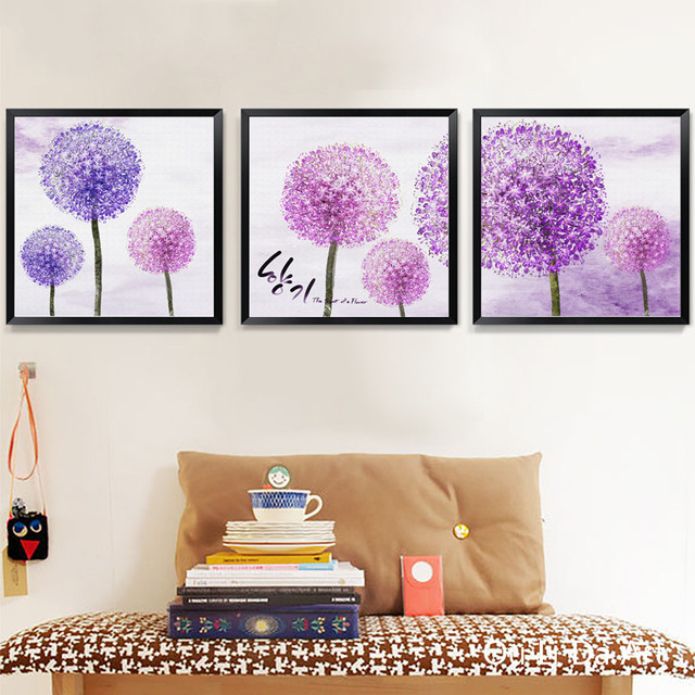 no frame pastoral Korean purple dandelion landscape canvas printings ...