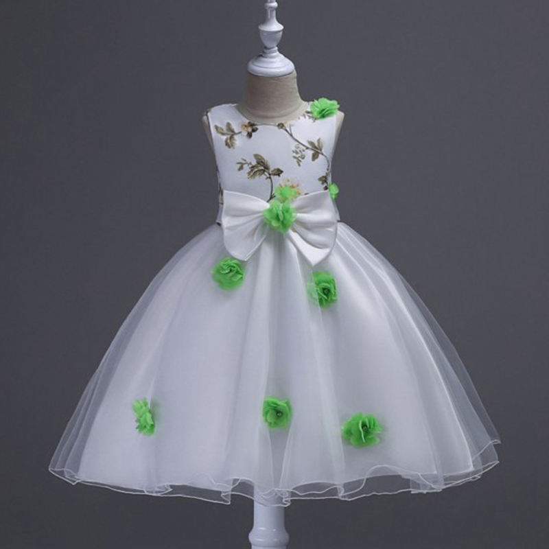 Summer Korean version of the sleeveless flower girl dress flower dress children's birthday party dress summer baby girl s dress cloth cherry blossom korean version sleeveless vest dress princess bow tie vestido