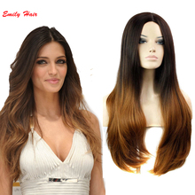 Ombre Wig Celebrity Curly Two-Tone Wigs Heat Resistant Wavy Synthetic Hair for Black Women Cheap pruiken perruque