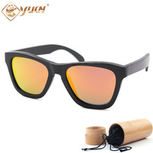 New hot bamboo sunglasses polarized handmade sun glasses black frame REVO lens driving fishing glasses bambu oculos de sol B016