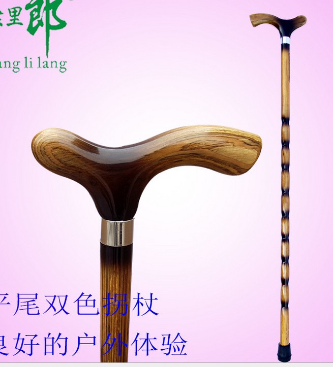 Factory Direct-sale Two Colors Of King Kong Wood With Flat Tail Beech Solid Cane Outdoo Solid Wooden Walking Stick Piety Head