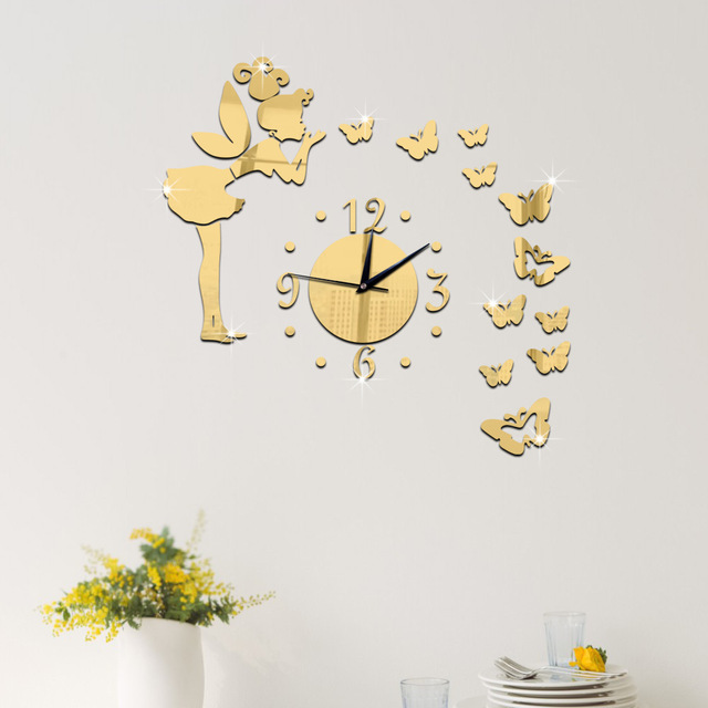 #s Angel Butterfly Wall Clock Removable DIY Acrylic 3D The Mirror Wall  Decals Wall Stickers Nice Look