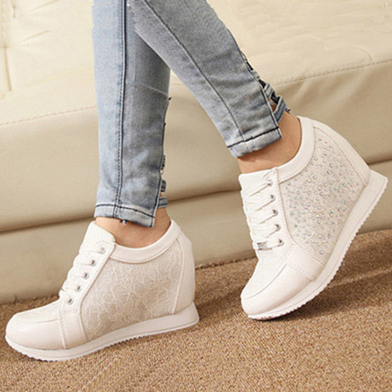 best service eed85 0c097 Womens Trainers 2016 Fashion Wedge Sneak ers Women Shoes Woman Platform  Rhinestones Zapatillas Mujer Trainers Zapatos Mujer QB84