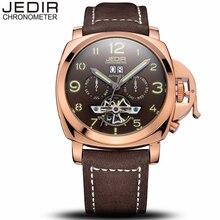 Jedir mens relojes de primeras marcas de lujo reloj mecánico automático de los hombres fecha de banda de cuero reloj de pulsera del deporte militar relogio masculino