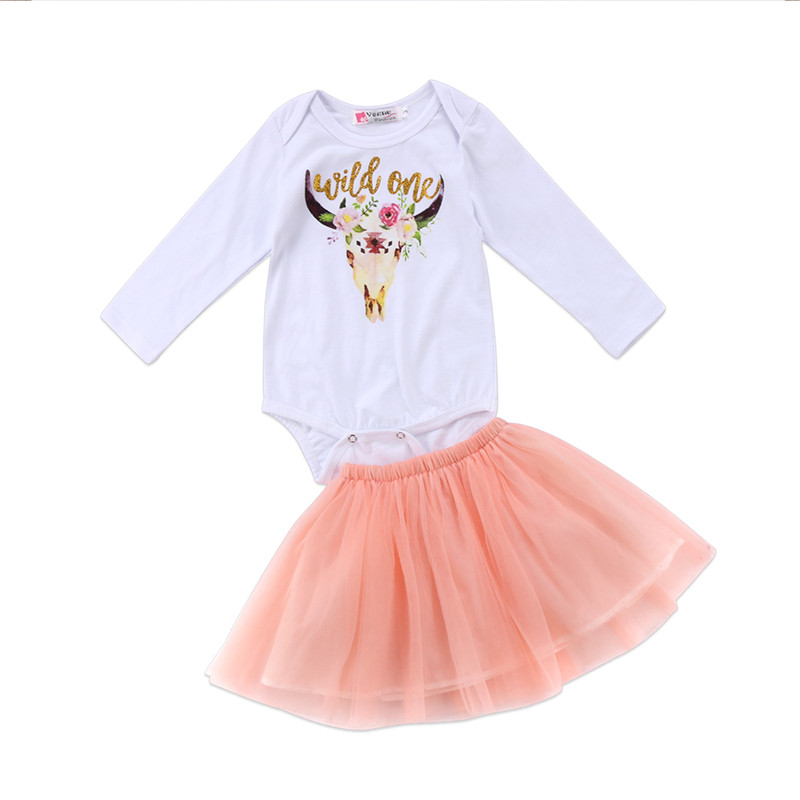 0 to 24M Newborn Baby Girls Clothes New Style Long Sleeve Top Romper Jumpsuit +Tutu Lace Skirt 2pcs Outfits Baby Clothing Set