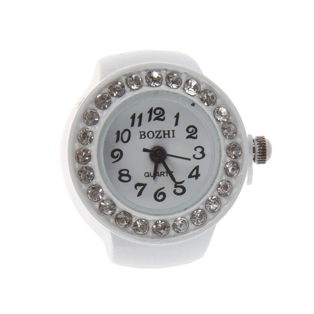 Anel de dedo relógio chique strass branco para senhoras