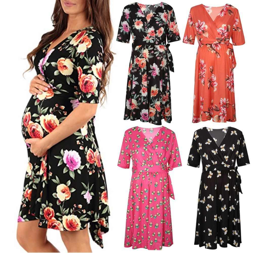 Puseky платье для беременных для фотосессии с v-образным вырезом, платье с цветочным рисунком для беременных, реквизит для фотосессии, стрейч с короткими рукавами, платье для беременных