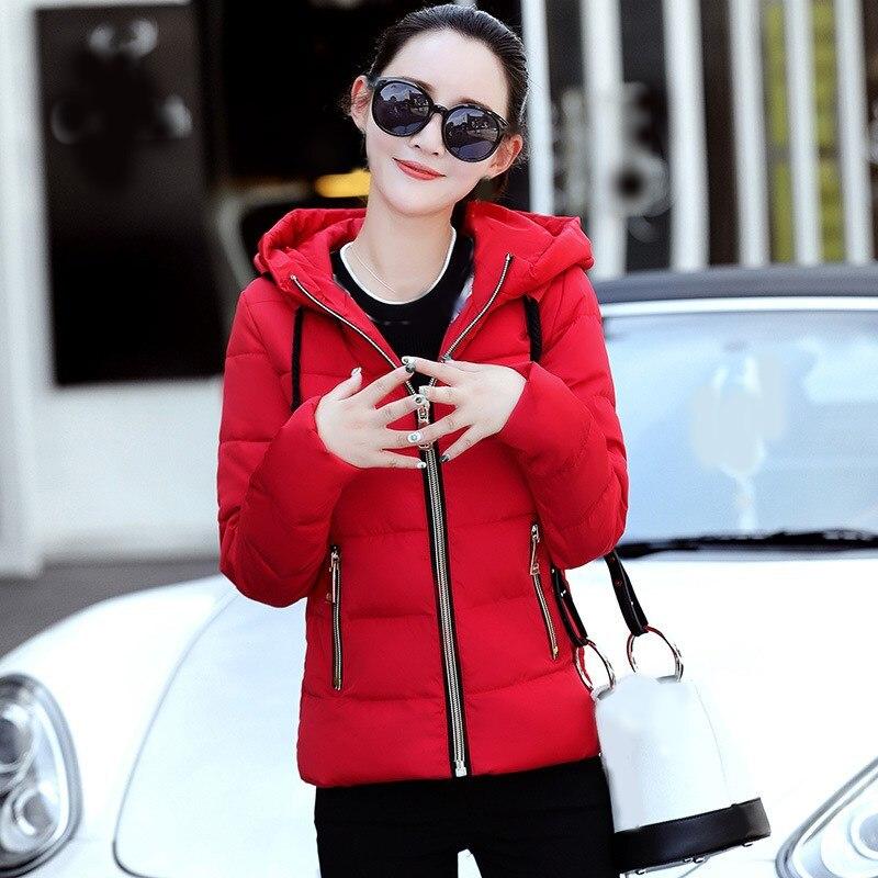 3b51051039f Comprar 2018 nueva chaqueta de invierno de las mujeres con capucha Parka  abrigos de Mujer de manga larga gruesa Parka cálida ropa de nieve abrigo  corto ...