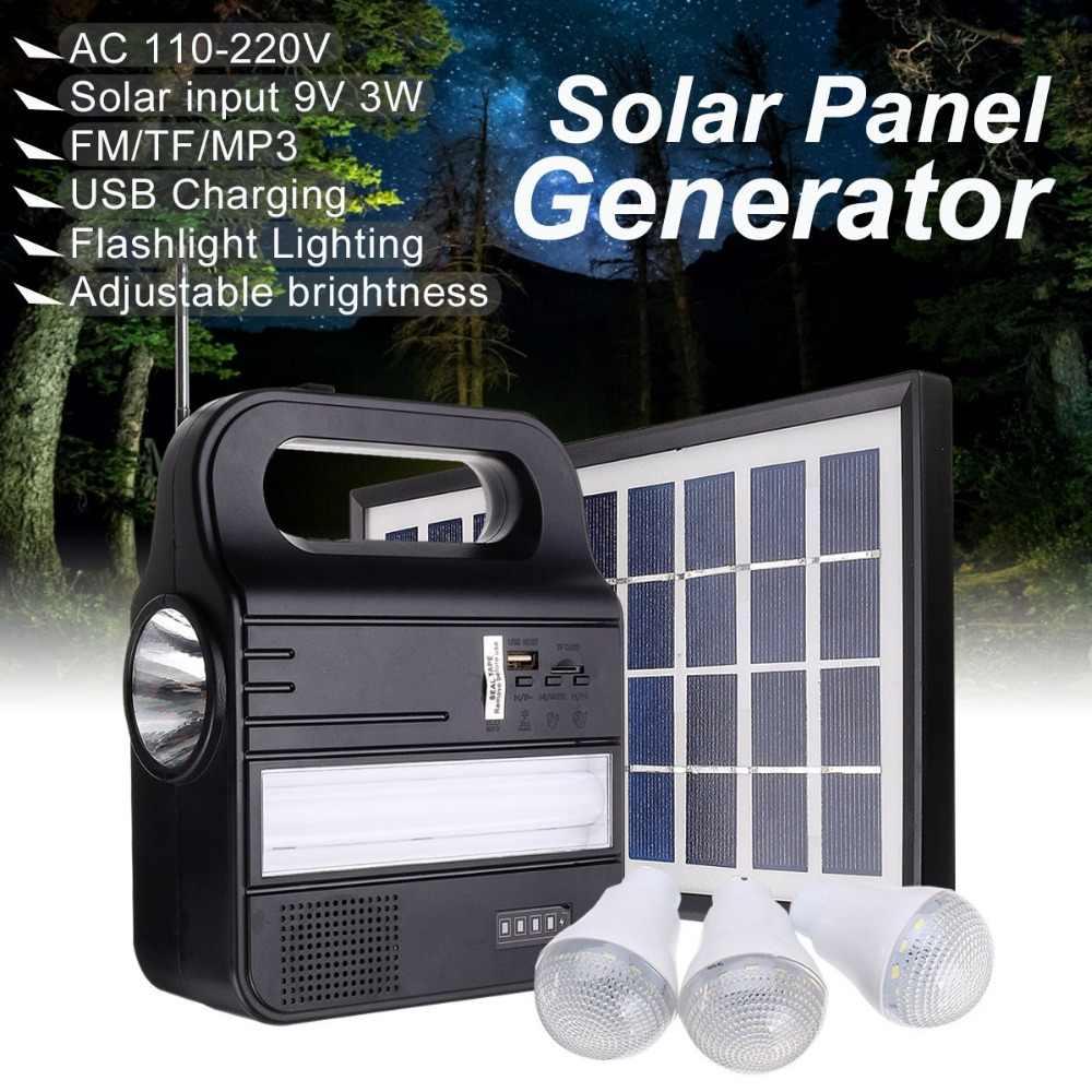 Солнечная панель генераторная система хранения энергии Комплект USB зарядное устройство 3 светодиодный светильник портативный домашний уличный Электрогенератор