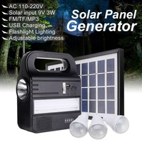 Solar Panel Power Storage Generator System Kit USB Charger 3 LED Bulbs Light Portable Home Outdoor Power generation System