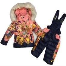 Дети Зимой Пуховик Мальчики Теплый Верхняя Одежда Пальто Девушки Одежду набор 2-6 Лет Дети Лыжный Костюм Комбинезон Для Мальчиков комбинезоны