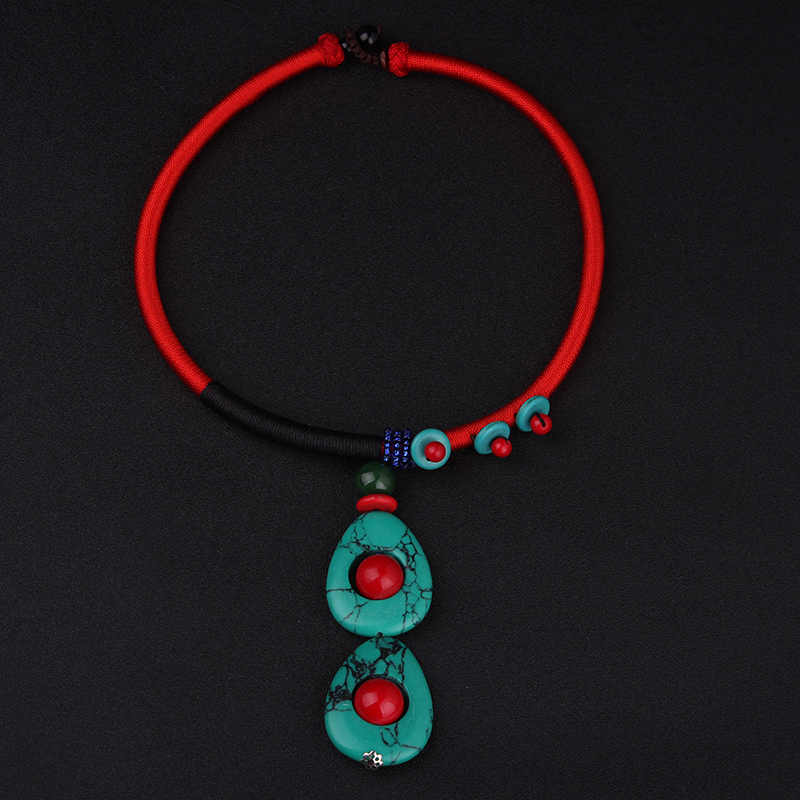 Prix pour DIY Bijoux Ethniques national vintage bohème goutte d'eau pierres collier ras du cou, mode main Couples collier