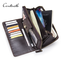 CONTACT S Hot Sale Brand Men Wallets Long Wallet High Capacity Male Clutch Genuine Leather Wallet