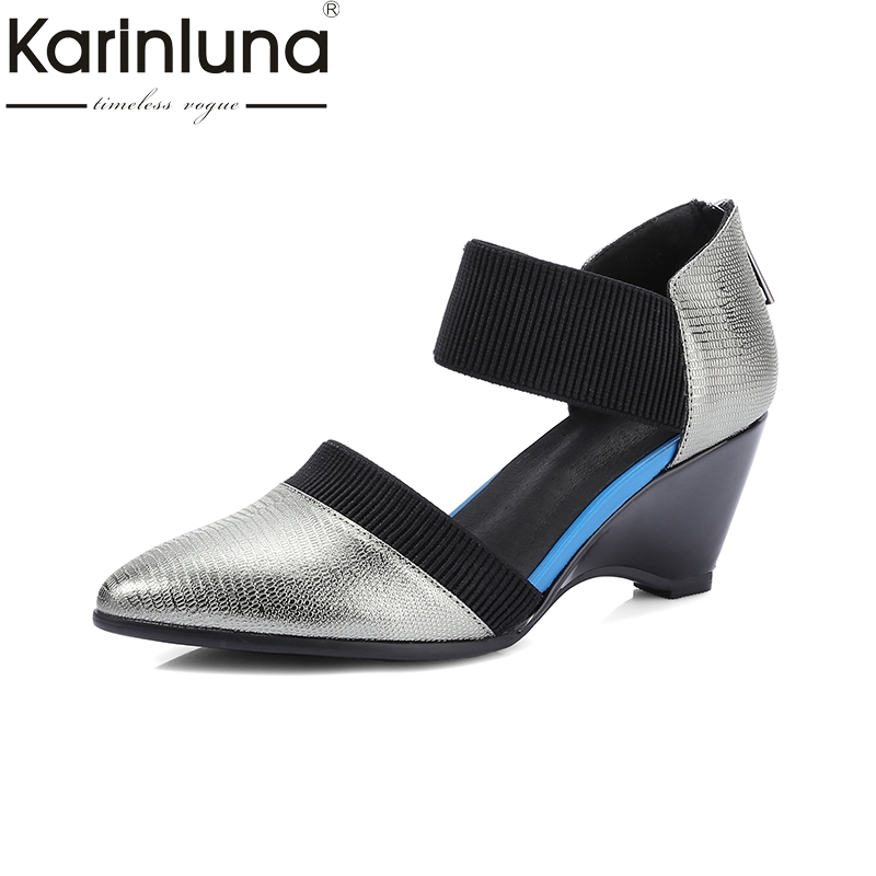 Karinluna 2018 Brand New Genuine Leather Pointed Toe Summer Shoes Women Pumps Wedge High Heels Date Footwear Shoes Woman nayiduyun women genuine leather wedge high heel pumps platform creepers round toe slip on casual shoes boots wedge sneakers