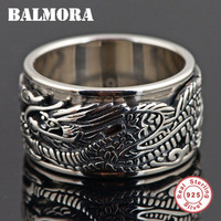 BALMORA 925 Sterling Silver Ancient Chinese Animal Dragon Rings for Men Vintage Ethnic Rotated Ring Thai Silver Jewelry SY20044