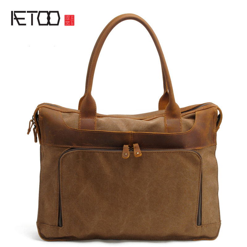 AETOOnew winter handbags vertical section briefcase business men and women fashion shoulder diagonal bag canvaslaptopbag 15 inch aetoo with leather handbag section briefcase men and women fashion personality business package canvas laptop bag 15 inch