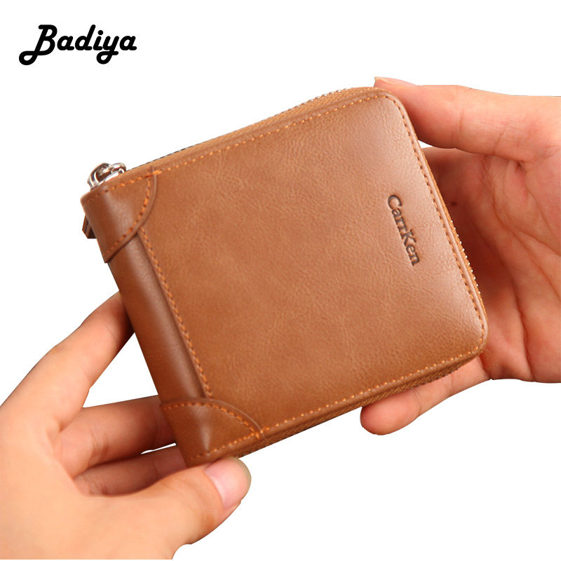Vintage Leather Unisex Zipper Wallets Solid 2 Fold Women Purses Solid Pu Leather Credit Card Holders Coin Purse Men Card Wallet