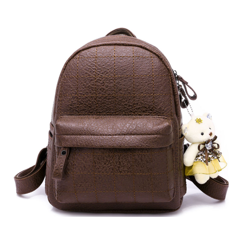 Mini Backpack Women Stone Pattern Leather Backpacks For Girls Small Back pack Ladies Casual Daypack With Hairball 2019 in Backpacks from Luggage Bags
