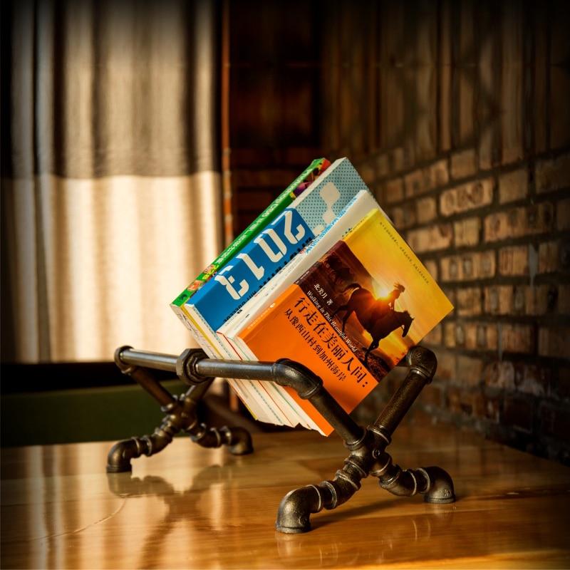 ФОТО Retro Individuality  Bookshelf Pipe Iron Wrought iron Pipe Shelf Cafe Bars Study Living Room Bedroom Bookshelf-FJ-ZN2Y-001A0