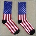 12 Par/lote Bandera Americana Calcetines Hombres Hip Hop Harajuku Calcetines de Rayas Calcetines para Niña de Algodón de Alta Calidad Para Niños WZ069