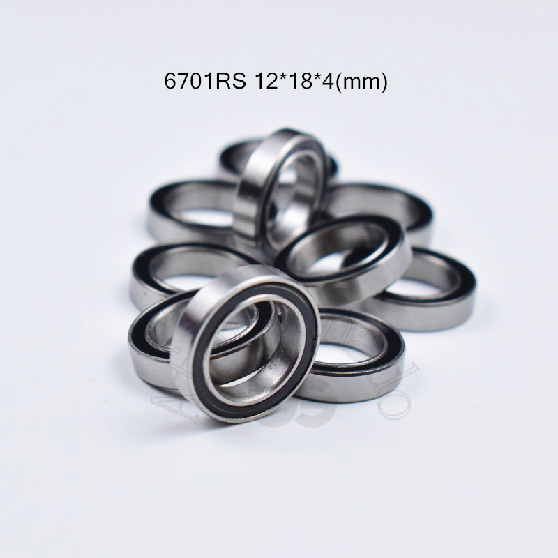 <font><b>6701RS</b></font> 12*18*4(mm) 10piece bearing rubber sealed free shipping ABEC-5 chrome steel miniature bearing hardware Transmission Parts image