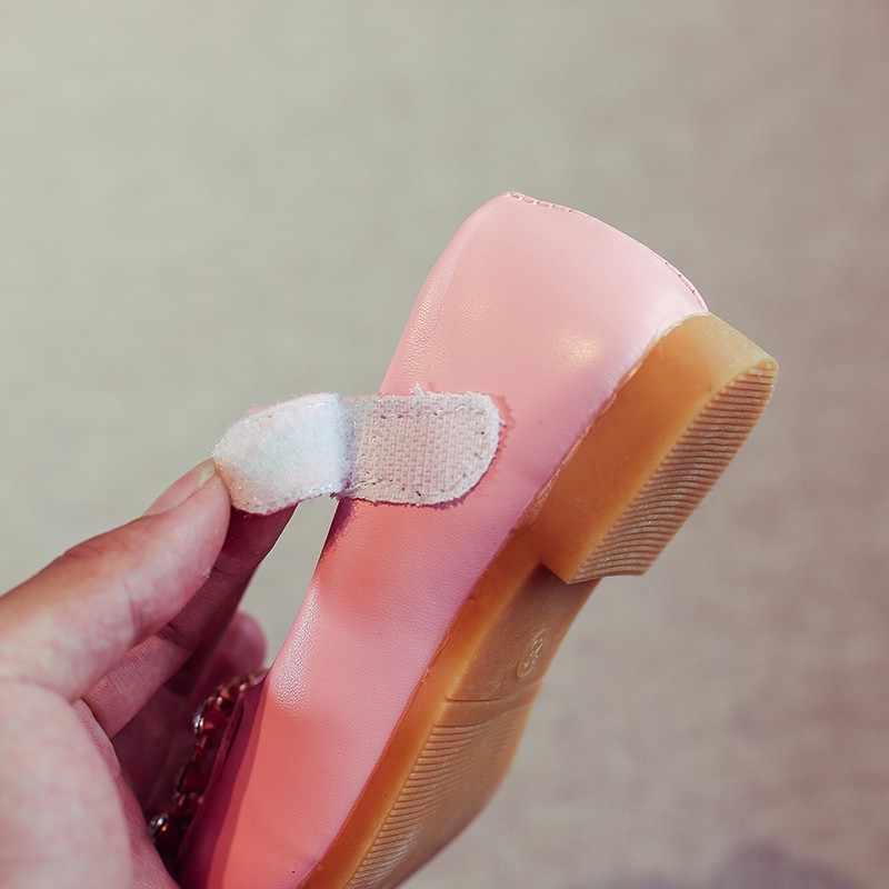 ฤดูใบไม้ผลิเด็กทารกรองเท้าสแควร์หัวเข็มขัด Rhinestone Princess รองเท้าหนังผ้าพลาสติกเด็กรองเท้า