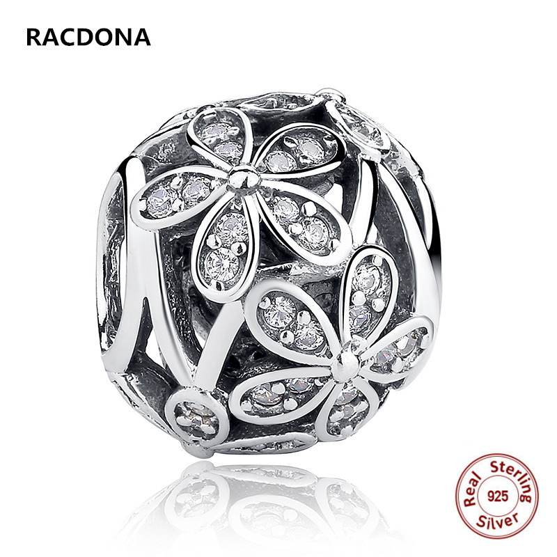 New 100% 925 Sterling Silver Wtih Zircon Hollow daisy Charm Fit Original pandora Bracelet&Bangle Bead DIY Jewelry Making